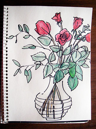 Maye it was the unusual vase or the one droopy rose