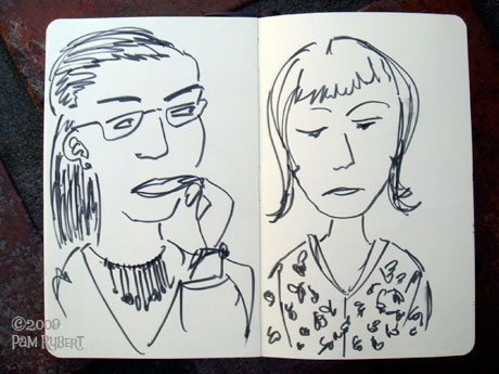 Drawing people at dinner