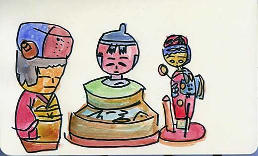 Three kokeshi watercolor sketch