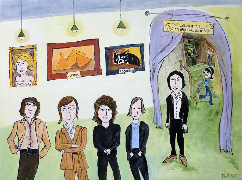 "PaMdora and The Doors meet Dorian Gray, 40"" x 30"" painting by Pam RuBert"