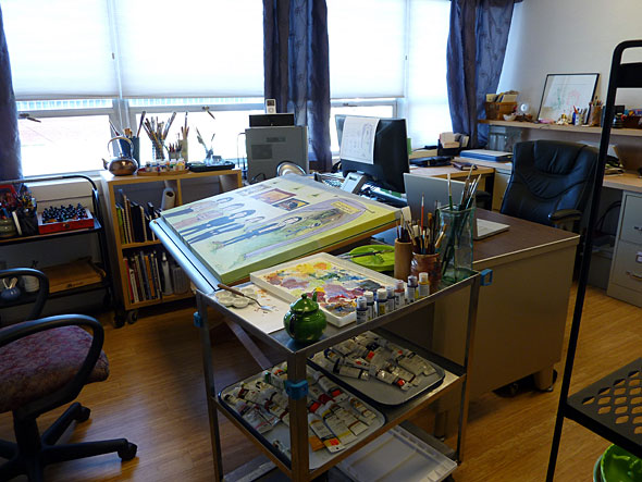 A small painting studio is cozy