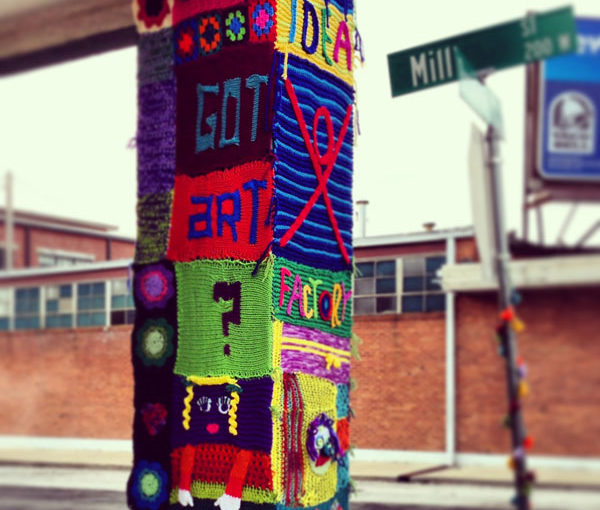 Yarnbombing for St. Patrick's Day
